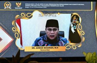 Wakil Ketua MPR RI, Dr. Ahmad Basarah, M.H., menjadi Narasumber secara Daring pada Kegiatan Sosialisasi Empat Pilar MPR RI - Bela Negara